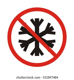 no snowflake. no frozen. Red prohibition sign. Stop symbol