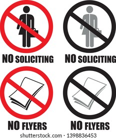 No soliciting unisex and no flyers allowed at home symbol sign vector