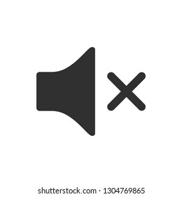 No sound or mute icon isolated on white background.