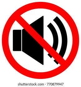 NO SOUND sign. Loudspeaker icon in crossed out red circle. Keep quiet symbol. Vector.