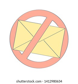 No spam, anti spam sign. Yellow envelope with prohibition sign. Flat outline vector design illustrative icon on white.