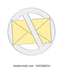 No spam, anti spam sign. Yellow mail envelope with prohibition sign. Flat outline vector design illustrative icon on white.