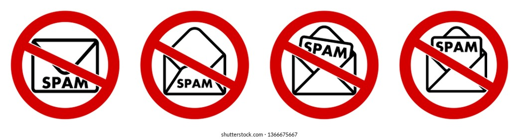 No spam icon, mail envelope with text in red crossed circle