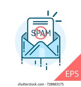 No spam. Vector modern line design illustrative icon