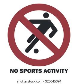 No sports activity sign. Vector illustration.