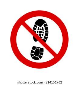 No standing icon. Imprint shoes sign