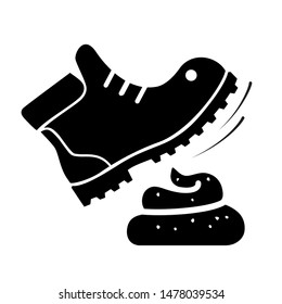 No step on dog excreta. Dung got on the shoe. Glyph icon images. Vector illustration.
