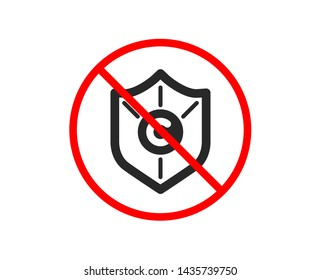 No or Stop. Copyright protection icon. Copywriting sign. Shield symbol. Prohibited ban stop symbol. No copyright protection icon. Vector
