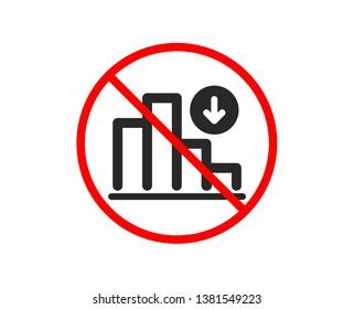 No or Stop. Decreasing graph icon. Column chart sign. Crisis diagram symbol. Prohibited ban stop symbol. No decreasing graph icon. Vector