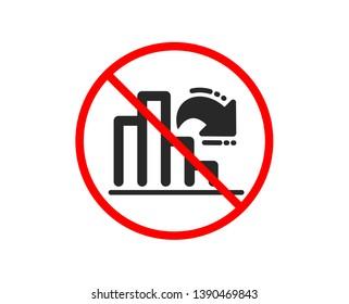No or Stop. Decreasing graph icon. Column chart sign. Market analytics symbol. Prohibited ban stop symbol. No decreasing graph icon. Vector