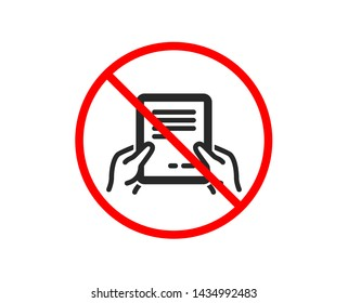 No or Stop. Hold Document icon. Agreement Text File sign. Contract with signature symbol. Prohibited ban stop symbol. No receive file icon. Vector