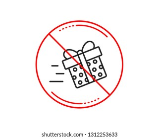 No or stop sign. Gift box Delivery line icon. Present or Sale sign. Birthday Shopping symbol. Package in Gift Wrap. Caution prohibited ban stop symbol. No  icon design.  Vector