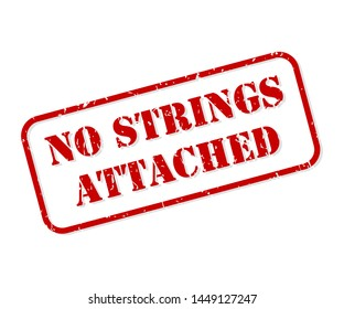No strings attached red rubber stamp vector isolated