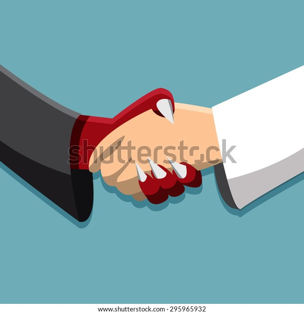 No stroke. Evil and god handshake, Peace time, Friendship in different race , No enemy in business. End of war, Partnership,corruption