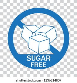 No sugar free icon label vector with cubes,circle and text blue color flat sign symbols logo illustration isolated on transparent background.Concepts for healthcare medical and Diabetes.