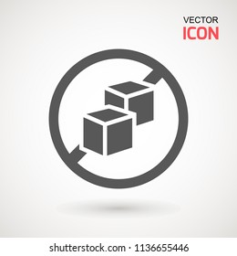 No Sugar free vector icon. Vector sugar cubes in circle icon for no sugar added product package design