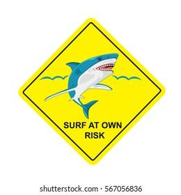 no surf, sharks no swimming sign, vector illustration
