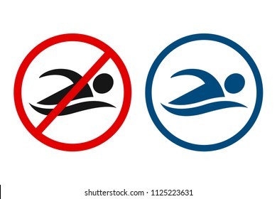 No swimming and swimming allowed sign. Simple swimmer figure silhouette icon in circle.