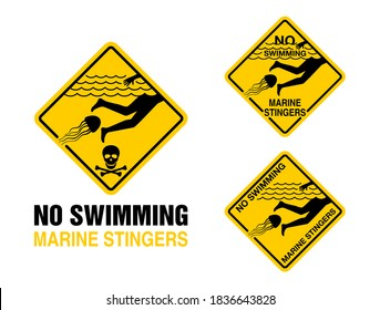 No Swimming - dangerous marine stingers (deadly poisonous jellyfish) warning prohibit sign for beach shore areas