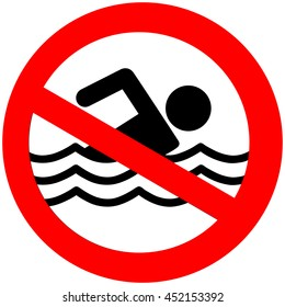 No swimming hazard ,warning sign