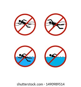 No swimming set sign. Dangerous dive. Sign danger on beach, in river, sea, water in red circle. Warning of hazard during swim. Colorful template for poster. Design flat element. Vector illustration