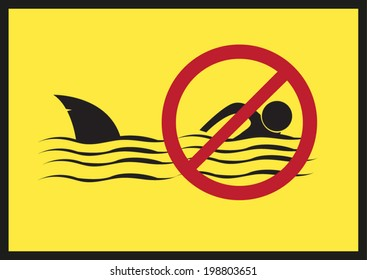 No Swimming. Shark Infested Waters Vector Eps10.