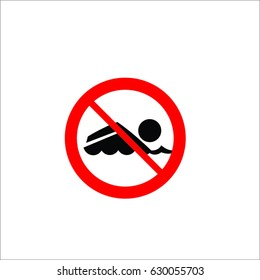 No swimming sign, on white background, vector illustration