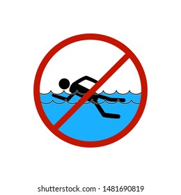 No swimming. Sign in red circle. Dangerous dive. Sign danger on beach, in river, sea, water. Warning of hazard during swim. Colorful template for poster, etc. Design flat element. Vector illustration