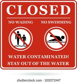No swimming no wading water contaminated. Vector