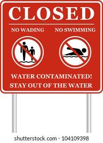 No swimming no wading water contaminated sign. Vector