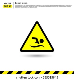 No swimming - Yellow Traffic sign icon