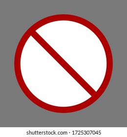 no symbol. red prohibition sign isolated on grey background. vector illustration
