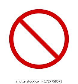 no symbol. red prohibition sign isolated on white background. vector illustration