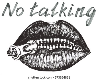 No talking, Her lips closed with zipper - hand drawn vector illustration, isolated on white