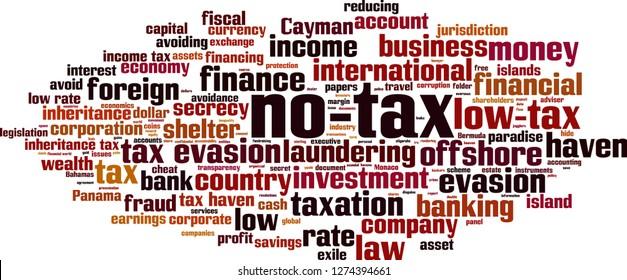 No tax word cloud concept. Vector illustration