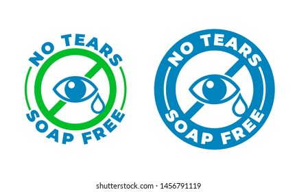 No tears formula, soap free shampoo vector icon. Kids and baby skincare no tears stamp logo, eye and drop sign