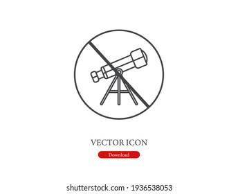 No telescope vector icon.  Editable stroke. Linear style sign for use on web design and mobile apps, logo. Symbol illustration. Pixel vector graphics - Vector