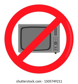 No television set prohibiting sign logo  vector graphic