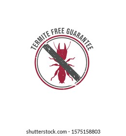 NO TERMITES sign. Insecticide symbol. Rubber stamp Vector icon. Anti-termite stamp icon on vector image