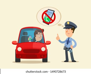 No texting and talking on phone while driving a car. Police officer issue a warning to driver. Prohibition sign - phone use prohibited. Vector illustration, flat cartoon style. Isolated background.