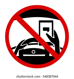 No Texting While Driving Concept Sign , Isolated on White Background Vector Illustration