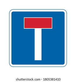 No through road traffic sign. Vector illustration of dead end road sign. Vehicle will not be able to pass through. Information for drivers on blue square plate board isolated on white background.