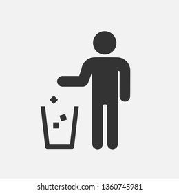 No Throw Icon. Keep Clean Warning Illustration As A Simple Vector Sign & Trendy Symbol for Design and Websites, Presentation or Mobile Application.