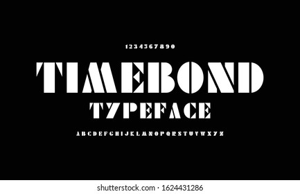 No time to die typeface. Alphabet font eighties style. Classic uppercase set a to z. James Bond 007 typography designs.