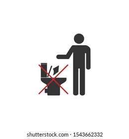 No toilet icon, No littering in toilet sign. Vector illustration, flat design