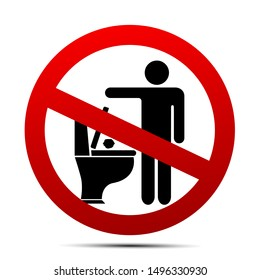 No toilet littering sign vector illustration on white background. Wc litter sign. Please do not litter in toilet, don't throw.