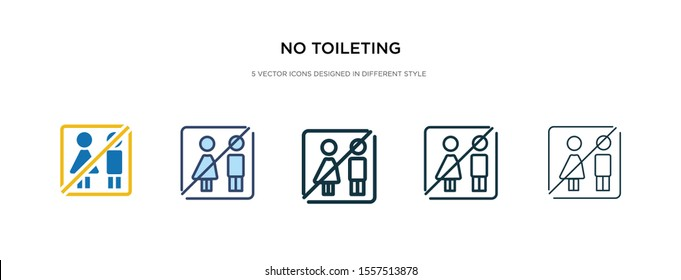no toileting icon in different style vector illustration. two colored and black no toileting vector icons designed in filled, outline, line and stroke style can be used for web, mobile, ui