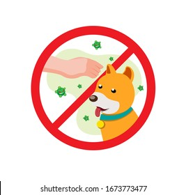 no touch pets symbol prohibition, prevent for infection disease in cartoon flat illustration vector isolated in white background