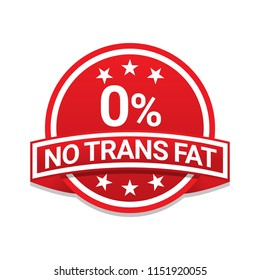 No trans fat 0 percent red badge label with shadow on white background
