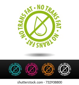 No trans fat badge, logo, icon. Flat vector illustration on white background. Can be used business company.